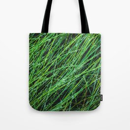 closeup green grass field texture with water drop Tote Bag