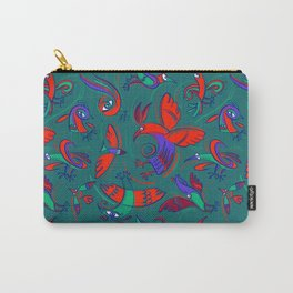 Pattern with Firebirds (on dark green background) Carry-All Pouch