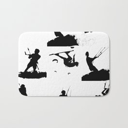 Wakeboarder Silhouette Collage Bath Mat