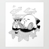 kirby Art Prints featuring Kirby by Pajarona