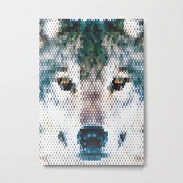 Wolf Portrait Mosaic  Vector Art Metal Print