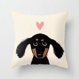 Dachshund Love | Cute Longhaired Black and Tan Wiener Dog Throw Pillow