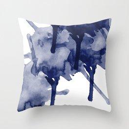 Indigo Blue Abstract Art Modern Splash RegiaArt Throw Pillow