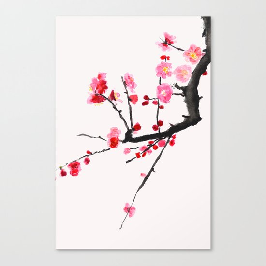 red plum flower red background Canvas Print