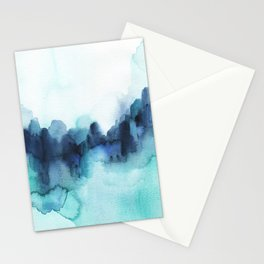Wonderful blues Abstract watercolor Stationery Cards