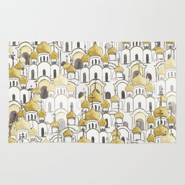 golden Russian cathedral church pattern Rug