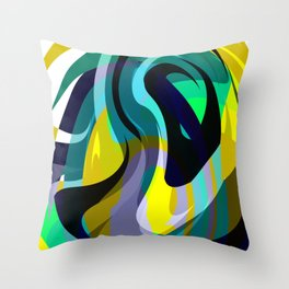 Orb, Abstract geometric Print in Blues Chartreuse & yellows Throw Pillow