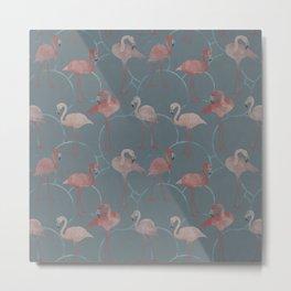 Walk with pink flamingos Metal Print