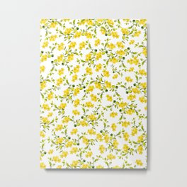 Yellow Flower Pattern #1 #spring #floral #decor #art #society6 Metal Print