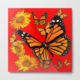BUTTERFLIES & GOLDEN SUNFLOWERS ON CHINESE RED Metal Print
