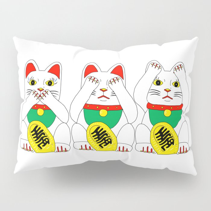 Three Wise Lucky Cats Pillow Sham