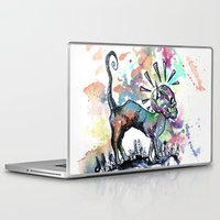 punk rock Laptop & iPad Skins featuring Punk Rock Skull Kitty Owns this City by Jessi Adrignola