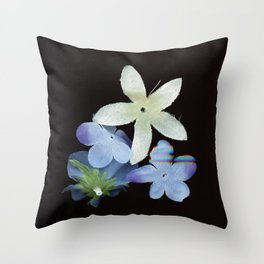 Artificial Flowers Glitched Scan Throw Pillow