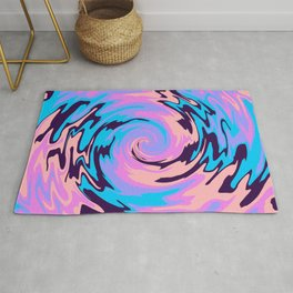70s psychedelic Retro Swirl Color Abstract  Rug