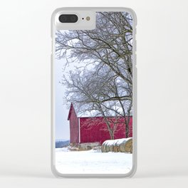 Red Barn in Winter with Hay Bales Clear iPhone Case