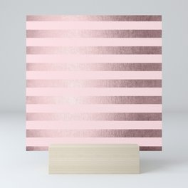 Shimmer Stripes Rose Gold Palace on Pink Mini Art Print