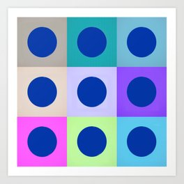 Colorblock Dots Graphic Design Geometric Art Print