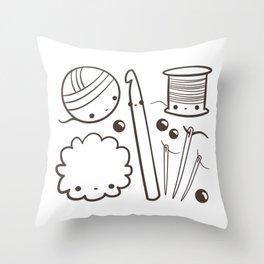 crochet cute - kawaii craft supplies Throw Pillow