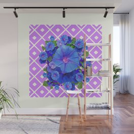 Lilac-White Pattern Blue Morning Glories Art Wall Mural