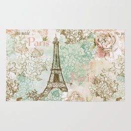 I love Paris- Vintage Shabby Chic - Eiffeltower France Flowers Floral Rug