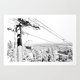 Chairlift // Mountain Ascent Black and White City Photograph Art Print