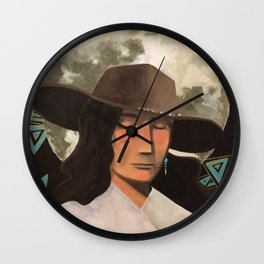 Portrait of A Southwestern Traveler with The Moon & Geometric Shapes In The Background Wall Clock