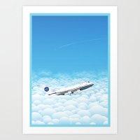 Plane through clouds Art Print