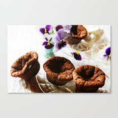 Chocolate muffins and violets Canvas Print
