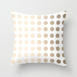 Simply Polka Dots in White Gold Sands Throw Pillow