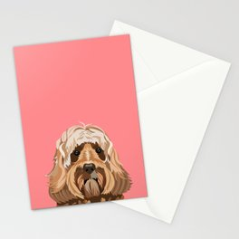 Labradoodle portrait blush dog portrait cute art gifts for dog breed lovers Stationery Cards
