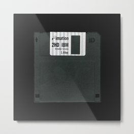 Retro 80's objects - Diskette Metal Print