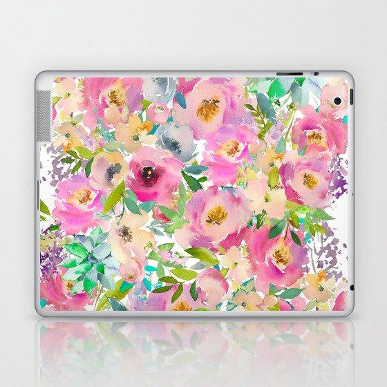 Elegant blush pink lavender green watercolor floral Laptop & iPad Skin