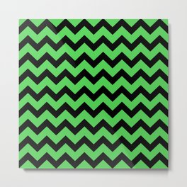Chevron (Black & Green Pattern) Metal Print