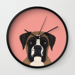 Boxer dog art print cute dog breed customizable pet portrait animal man's best friend dog person  Wall Clock