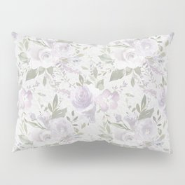 Mauve green lavender blush watercolor boho floral Pillow Sham