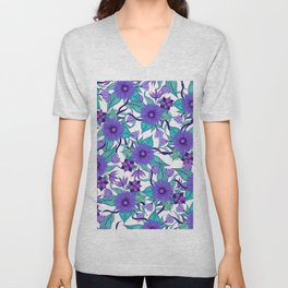 Violet Purple White and Teal Hand Drawn Flowers and Vines Unisex V-Neck
