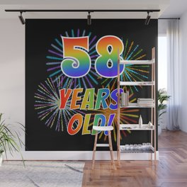 """58th Birthday Themed """"58 YEARS OLD!"""" w/ Rainbow Spectrum Colors + Vibrant Fireworks Inspired Pattern Wall Mural"""
