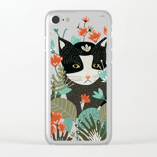 Curious Cat Clear iPhone Case