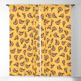 Ramen Bowl Pattern in Orange Blackout Curtain