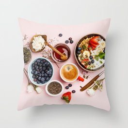Heart made with Healthy breakfast set Throw Pillow