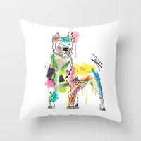 dog Throw Pillows featuring dog  by mark ashkenazi