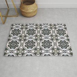Portuguese Tiles Azulejos Black White Pattern Rug