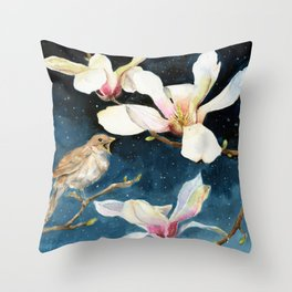 Night Music, Nightingale and Magnolias on Dark Sky, Stary Night Throw Pillow