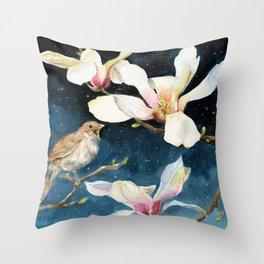 Night Music, Nightingale and Magnolias on Dark Sky, Stary Night Throw Pillow