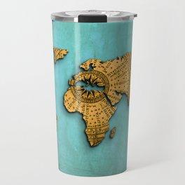 Vintage World Map on Jade Dragon Teal Travel Mug