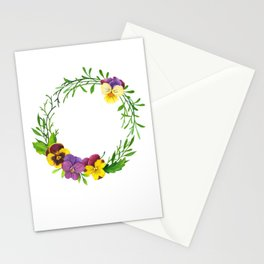 Watercolor pansies wreath Stationery Cards