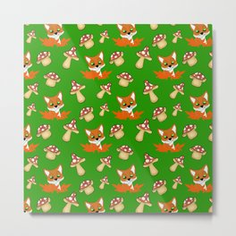 Cute happy red foxes, fallen leaves and wild forest mushrooms green nature pattern. Hello November Metal Print