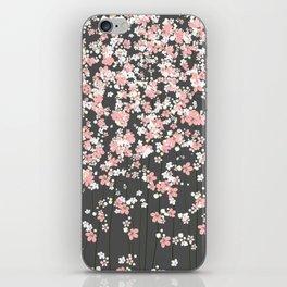 Black background Pink Shidare Zakura iPhone Skin