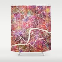 london Shower Curtains featuring London  by MapMapMaps.Watercolors