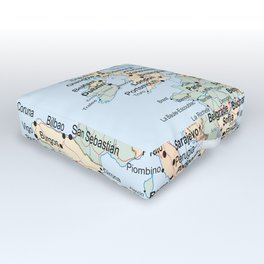 World Map Europe Outdoor Floor Cushion